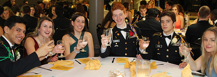 JROTC cadets and their guests toast to a great evening at Military Ball.