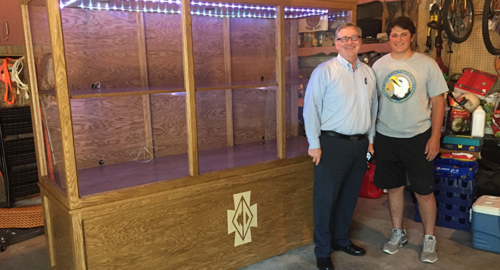 CDH President Frank Miley with Noah Peirson '19 and his Eagle Scout project - a handcrafted oak curio.